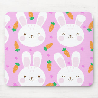 Cute cartoon bunnies and carrots on pink pattern mouse pad