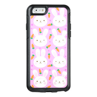 Cute cartoon bunnies and carrots on pink pattern OtterBox iPhone 6/6s case