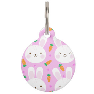 Cute cartoon bunnies and carrots on pink pattern pet ID tag