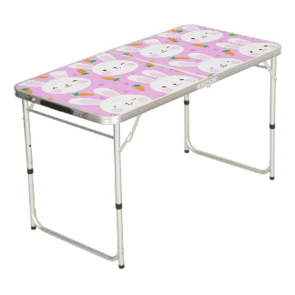 Cute cartoon bunnies and carrots on pink pattern pong table