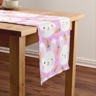 Cute cartoon bunnies and carrots on pink pattern short table runner