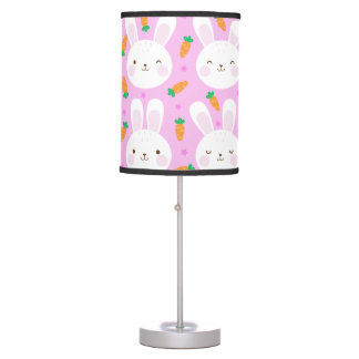 Cute cartoon bunnies and carrots on pink pattern table lamp