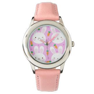 Cute cartoon bunnies and carrots on pink pattern wrist watch