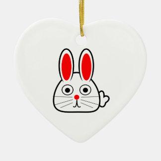 Cute Cartoon Bunny Rabbit Ceramic Heart Ornament