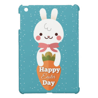 Cute cartoon bunny rabbit easter greetings iPad mini cover