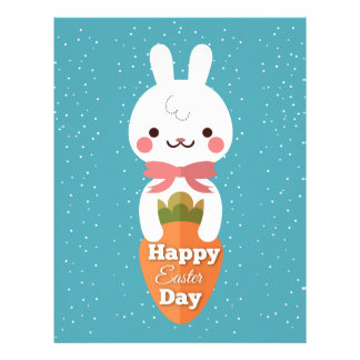 Cute cartoon bunny rabbit easter greetings letterhead