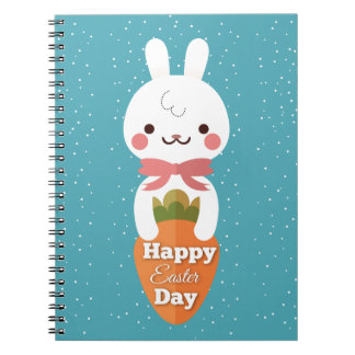 Cute cartoon bunny rabbit easter greetings notebooks