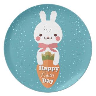 Cute cartoon bunny rabbit easter greetings plates