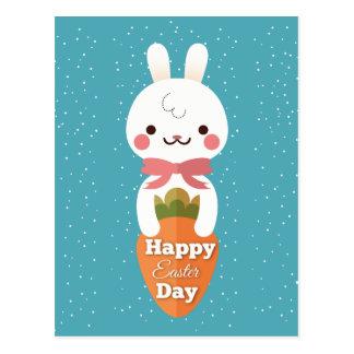Cute cartoon bunny rabbit easter greetings postcard