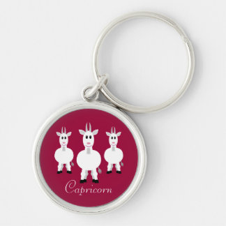 Cute Cartoon Capricorn Zodiac Goats Customizable Keychain