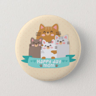 Cute cartoon cat family happy mother's day 2 inch round button