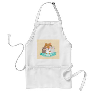 Cute cartoon cat family happy mother's day standard apron
