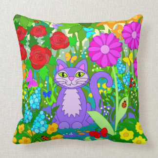 Cute Cartoon Cat Fantasy Garden Flowers Ladybugs Throw Pillow