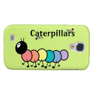 Cute Cartoon Caterpillars Grass Green Background Galaxy S4 Case