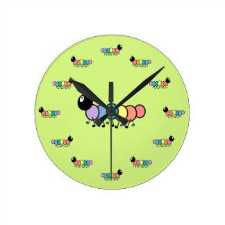 Cute Cartoon Caterpillars (Grass Green Background) Round Clock