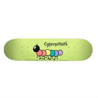 Cute Cartoon Caterpillars Grass Green Background Skateboards