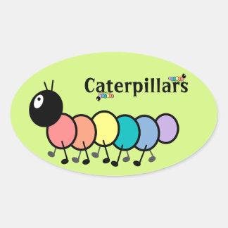Cute Cartoon Caterpillars Grass Green Background Oval Sticker