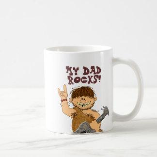 Cute Cartoon Caveman My Dad Rocks for Father Basic White Mug