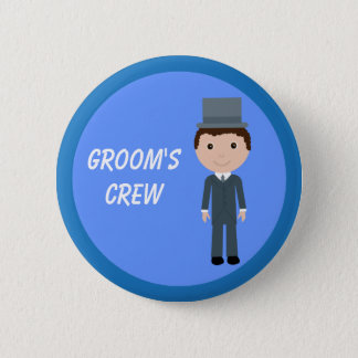 Cute Cartoon Character Groom's Crew Bachelor Party 2 Inch Round Button