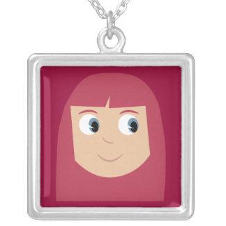 Cute Cartoon Character Redhead Girl Custom Silver Plated Necklace
