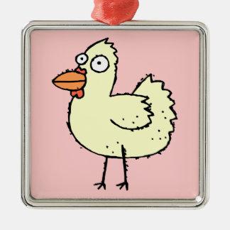 Cute Cartoon Chicken Silver-Colored Square Ornament