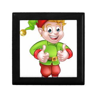 Cute Cartoon Christmas Elf Keepsake Box
