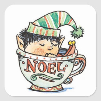 Cute Cartoon Christmas Elf Sleeping in a Tea Cup Square Sticker