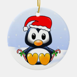 Cute Cartoon Christmas Penguin with Candy Canes Round Ceramic Ornament