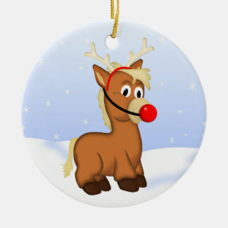 Cute Cartoon Christmas Pony dressed as Rudolf Ceramic Ornament