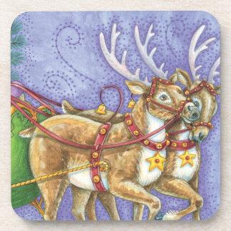 Cute Cartoon Christmas Santa Claus Sleigh Reindeer Coaster