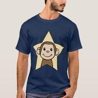 Cute Cartoon Clip Art Monkey with Grin Smile Star T-Shirt