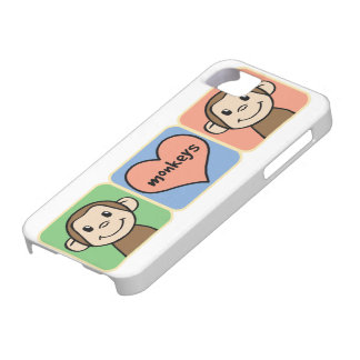 Cute Cartoon Clip Art Monkeys with Heart Love iPhone 5 Case