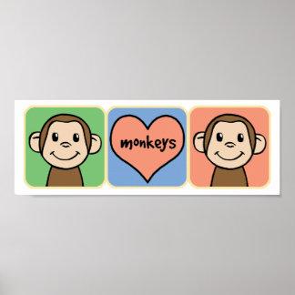 Cute Cartoon Clip Art Monkeys with Heart Love Poster