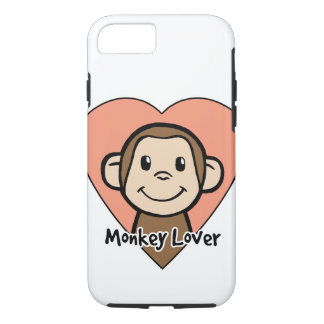Cute Cartoon Clip Art Smile Monkey Love in Heart iPhone 7 Case