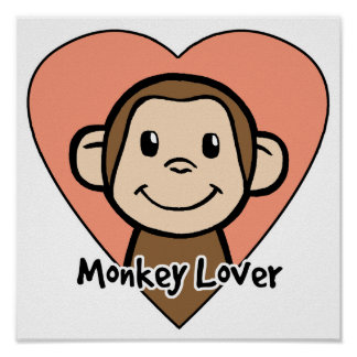Cute Cartoon Clip Art Smile Monkey Love in Heart Poster