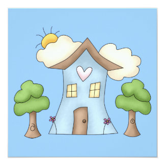 Cute Cartoon Country House Tree Scene Card