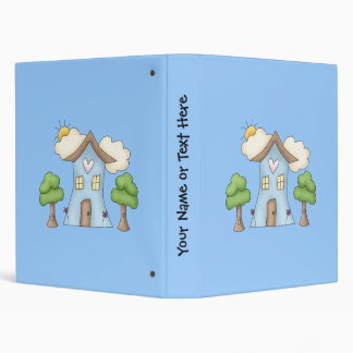Cute Cartoon Country House Tree Scene Vinyl Binders