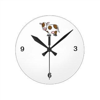 Cute Cartoon Cow Brown and White Round Clock