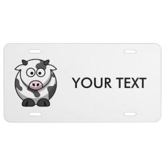 Cute Cartoon Cow License Plate