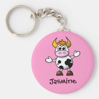 Cute Cartoon Cow Personalized Name Gift Basic Round Button Keychain