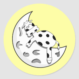 Cute Cartoon Cow Sleeping On The Moon Classic Round Sticker