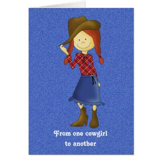 Cute Cartoon Cowgirl on Denim Birthday Card