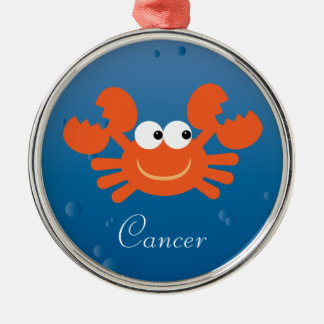 Cute Cartoon Crab Cancer Zodiac Sign Custom Round Metal Christmas Ornament