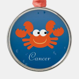 Cute Cartoon Crab Cancer Zodiac Sign Custom Silver-Colored Round Ornament