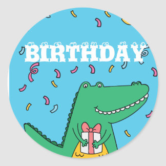 Cute cartoon crocodile birthday classic round sticker