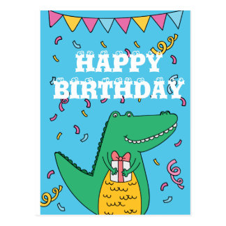 Cute cartoon crocodile birthday postcard