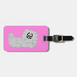 Cute Cartoon Curly Poodle Puppy Dog Luggage Tag