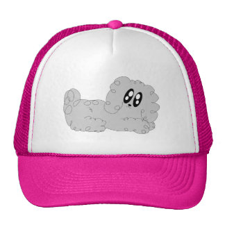 Cute Cartoon Curly Poodle Puppy Dog Trucker Hat