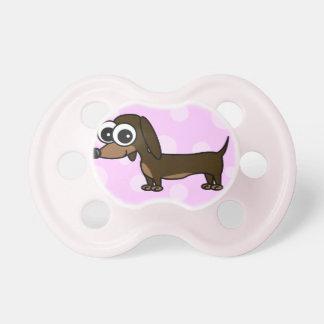 Cute Cartoon Dachshund - Pink Baby Pacifier