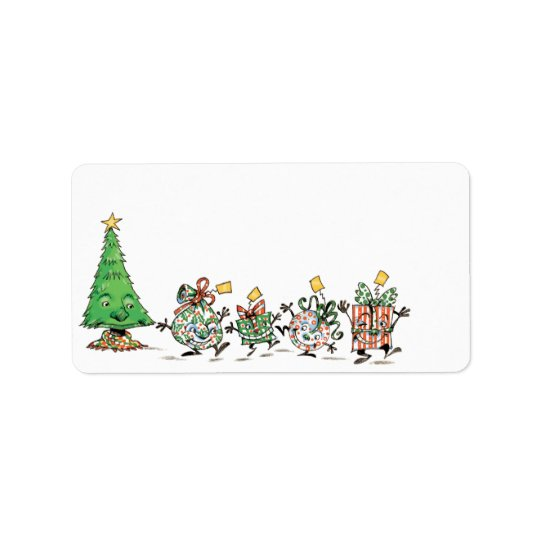 Cute Cartoon Dancing Christmas Presents and Tree Label